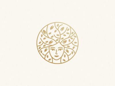 Woman+Tree Mark tree logo gold cosmetic her woman leaf tree logo design brand identity symbol icon minimal brand logodesign branding design logo