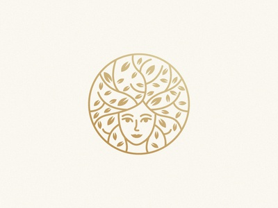 Woman+Tree Mark tree logo gold cosmetic her woman leaf tree logo design brand identity symbol icon minimal brand logodesign branding design logo