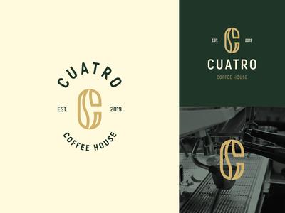 Cuatro Coffee House coffee house coffee bean brewery brewing roaster coffee logo design brand identity symbol icon minimal brand logodesign branding design logo
