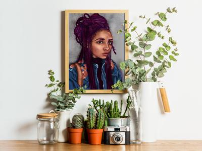 One Week Portrait with Plants Mockup