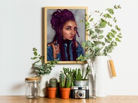 One Week Portrait with Plants Mockup