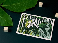 Sad Snake Girl Postcard