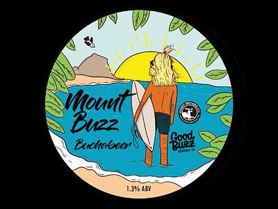 Mount Buzz Bucha Beer Tap label beach summer label beer typography logo design branding illustration