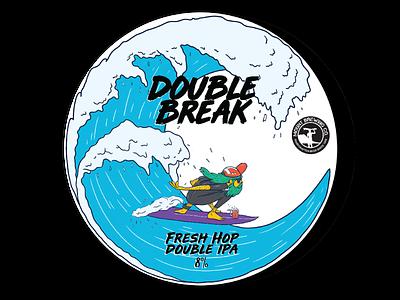 Doube Break beer branding surfbrand surf waves label beach beer typography logo design characterdesign illustration