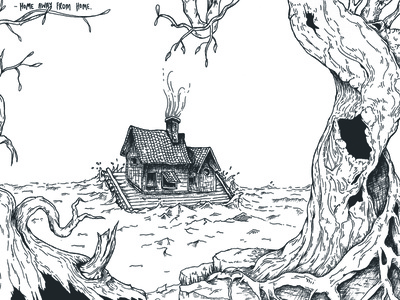 Home Away From Home sketch illustration housewarming sea house lineart blackandwhite ink commission
