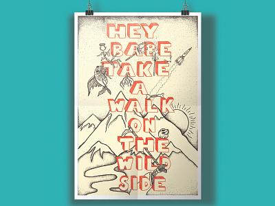 Wild Side handdrawntype typogaphy procreateapp design artwork ink blackandwhite favourite illustration music poster dotwork wildside danger dots