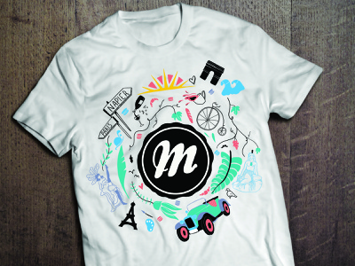 Monsieur Macaron colours typography paris tshirt art deco local illustration logo bakery logo baker apparel design