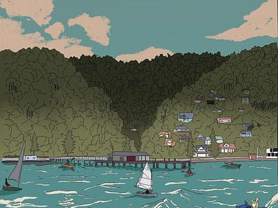 observational drawing colour traditional ink scenery water landscape illustration art digital
