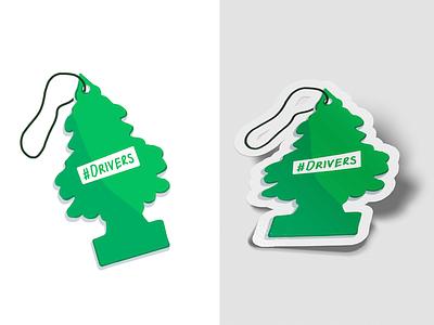 #Drivers Sticker illustration digital drawing design twitter sticker pine tree air freshener car illustration