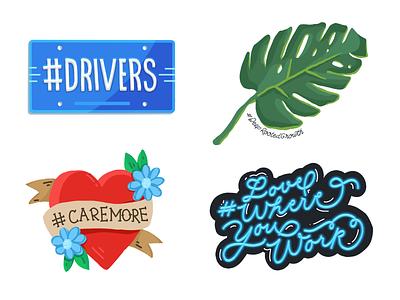 WINGS sticker designs illustration design branding typography lwyw lwyw twitter love where you work tattoo heart licence plate monstera leaf sticker sheet stickers