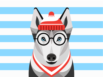 Where's Waldo? woofwear woof illustration alaskan malamute stripes custom costume halloween waldo vector dog illustration dog husky