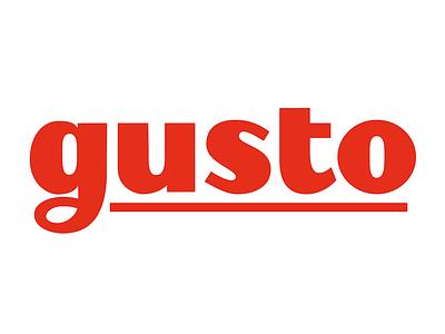 Gusto logo logotype typography custom lettering