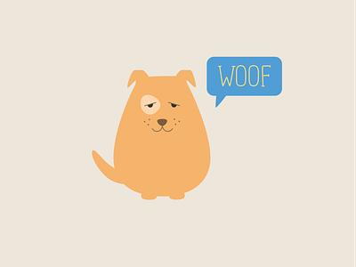 Woof dog flat illustration woof