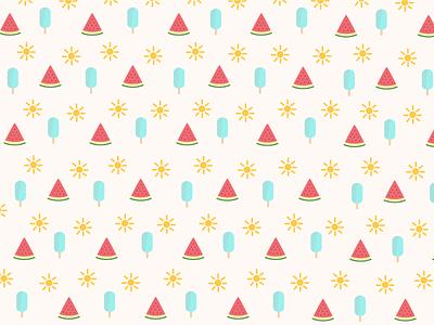 August Pattern flat illustration watermelon ice cream sun pattern