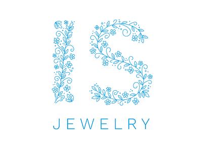 IS Jewelry Logo jewelry flower illustration custom lettering lettering logotype logo