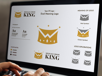 MESSAGE FROM KING LOGO king logo king gold grafast design negative space logo dual meaning logo mail logo mail crown logo crown branding design brand logo