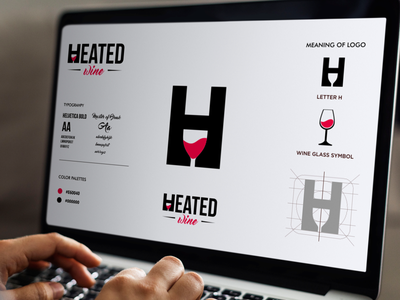 Heated Wine Logo meaningful logo negative space logo dual meaning logo grafast design heated logo heated wine logo wine logo process visual identity branding brand logo