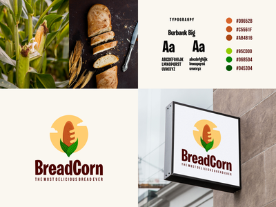 BreadCorn Logo meaningful logo dual meaning logo food logo food grafast design brand identity branding logo corn bread logo corn bread logo