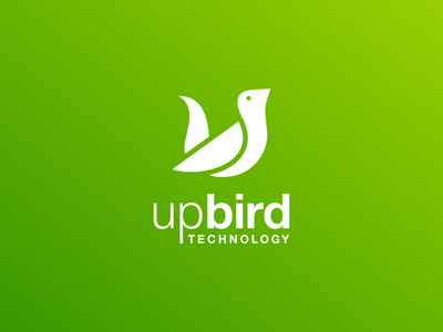 UpBird Technology grafast design branding illustration design logo process simple logo technology logo gradient green color letter u logo letter u bird logo bird logo