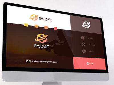 galaxy production logo combination film inspiration designs awesome branding design design dribbble inspirations brand branding logo
