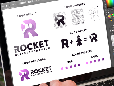 initials R and rocket logo combination rocket initials inspiration designs awesome branding design design dribbble inspirations brand branding logo