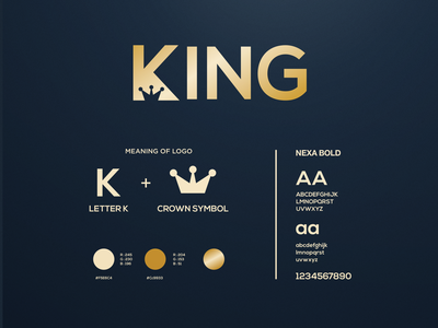 KING LOGO (K +CROWN) grafast design premium logo crown logo crown k logo letter k king gold logo designer typography vector brand branding logo