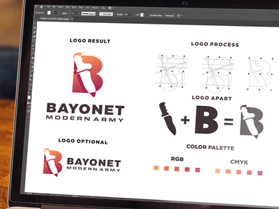 BAYONET MODERN ARMY logo branding branding design design dribbble inspirations brand designs illustration awesome branding logo