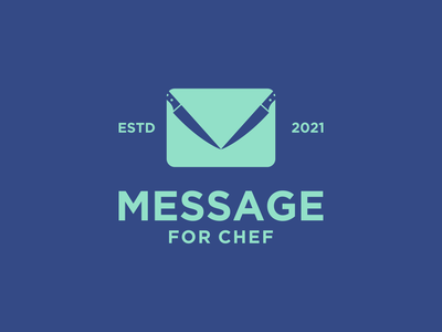 Message for Chef Logo grafast design meaningful logo dualmeaning logo negative space logo vector kitchen knife logo knife mail logo mail message logo message brand branding logo