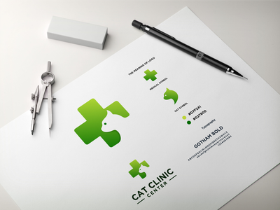 Cat Clinic Center app pet clinic clinic logo clinic negative space logo cat logo cat medical logo medical vector branding brand logo