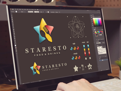 staresto food and drink logo resto star inspiration designs awesome branding design dribbble design inspirations brand branding logo