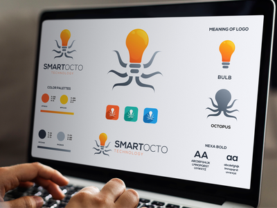 SmartOcto Technology Logo grafast design logo designer technology logo technology logo guidelines combination logo bulb logo bulb octopus logo octopus smart logo dribbble vector inspiration brand branding logo