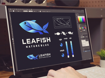 leaf and fish logo branding blue nature fish leaf inspiration designs awesome branding design dribbble design inspirations brand branding logo