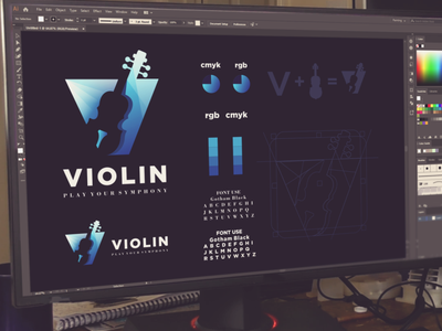 Letter V and violin Logo combination violin music play inspiration designs awesome branding design dribbble inspirations design brand branding logo