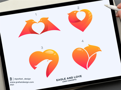 Eagle and Love Logo Concepts brand guidelines brand identity bird logo eagle love logo love logo love eagle logo eagle vector design brand branding logo
