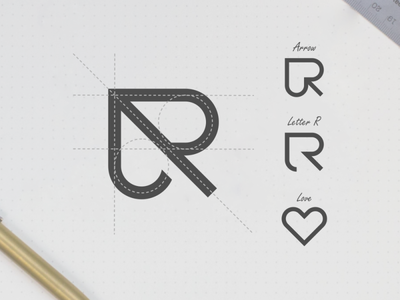 R arrow logo grid