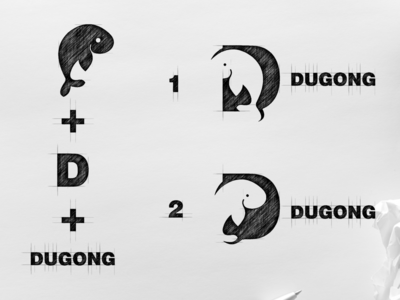 D for dugong initial icon logo explore
