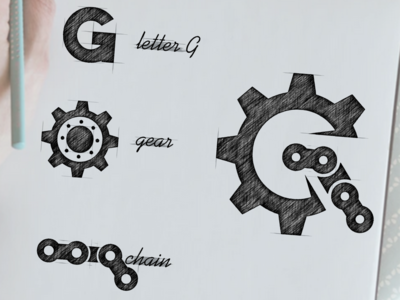 G for gear and chain logo combination
