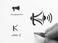 Loud speaker + letter K logo combination