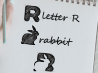 Rabbit + letter R logo combination