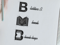 Letter B + book logo combination
