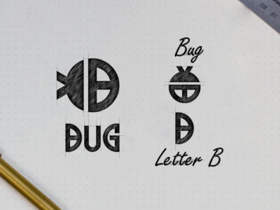 Letter B + bug logo combination