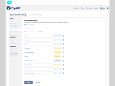 Final Designs for the Managing Coaching Activities UI