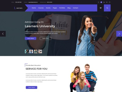 Learners Education PSD Template university training teacher study student school library lesson learn instructor institute education course college class