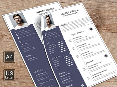 Resume with Cover Letter modern professional infographic template cv resume clean a4