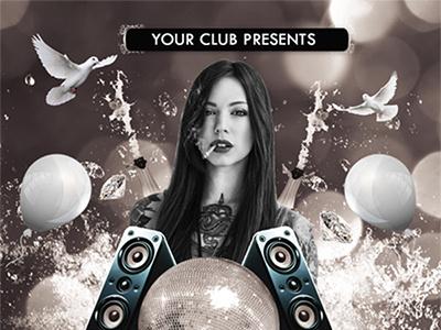 Midnight Party Flyer Template 4.25x6.25 4x6 birthday carnations celebration champagne club cupid disco