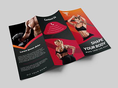 Gym Brochure Design trifold leaflet flyer design corporate gym brochure