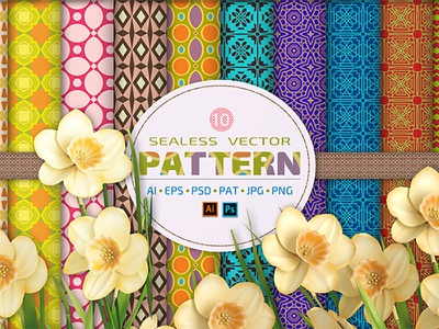 10 Seamless Vector Patterns Bundle textures elegant pattern mandala geometric flower colorful backgrounds abstract