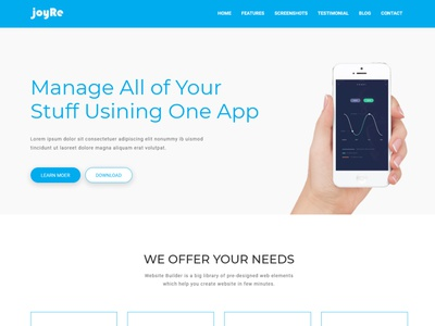 JoyRe - Responsive App Landing Page html5 design boostrap4 applanding app
