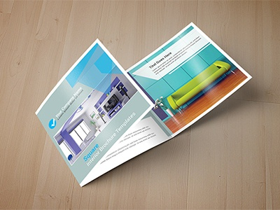Square Interior Trifold Brochure hexagon geometric flat customisable colourful business angular abstract