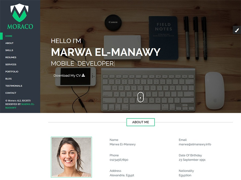 Moraco Personal Vcard Resume Html Template By Codegrape Dribbble